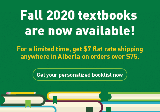 Fall textbooks now available with $7 flat rate shipping in Alberta