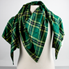 Large shawl with University of Alberta green and gold colours in the tartan style.